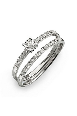 9ct White Gold Diamond Set Two Piec...