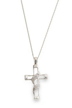 "Sterling Silver CZ Entwined Cross Pendant On 18"" Curb Chain"