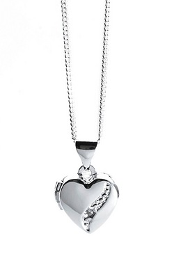 Sterling Silver Dia. Set Heart Lock...
