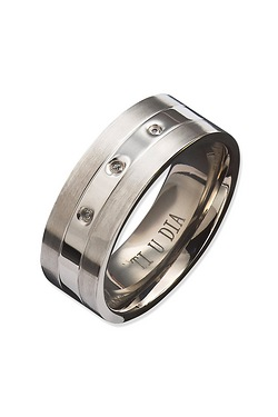 Gents Titanium 3 Diamond Ring