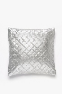 Silver Metallic Quilted Cushion Cover