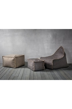 Lounge Chair and Pouffe Set