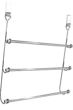Chrome Effect Over-Door 3 Tier Towel Rail