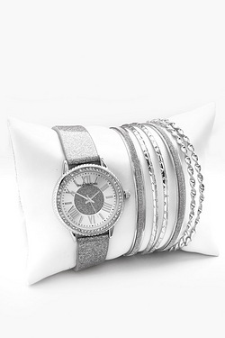 Silver Watch With Bracelets Gift Set