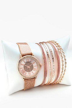 Rose Gold Watch With Bracelets Gift...