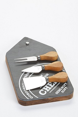 3-Piece Wood Cheese Set With Slate Top