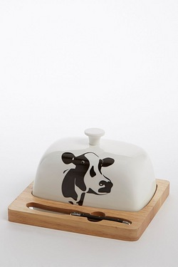 Cow Butter Dish and Knife Set