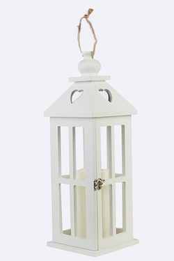 White Wooden Lantern With LED Candle