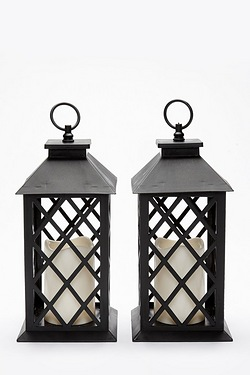 Set Of 2 Lanterns With LED Candles