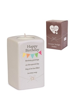 Happy Birthday Said With Sentiment Tea Light Holder