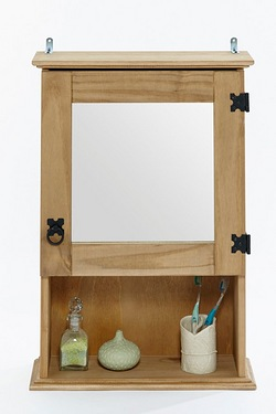 Mexican-Style Pine Mirrored Wall Cabinet