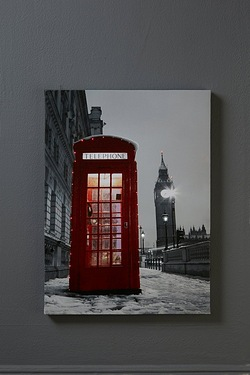 LED Fibre Optic Red Telephone Canvas