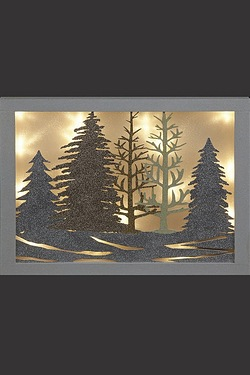 LED Winter Forest Wooden Plaque