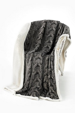 Knitted Look Printed Fleece Throw With Sherpa Reverse