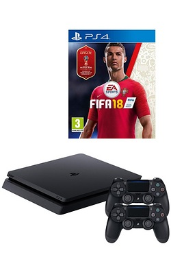 PS4 1TB Console + FIFA 18 + 2 Dualshock 4 Controllers