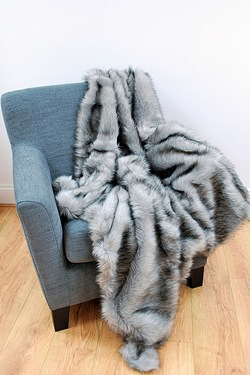 Colour Tipped Faux Fur throw