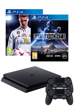 PS4 500GB Black Console + FIFA 18 + Star Wars Battlefront II + 1 Extra Dualshock Wireless Controllers