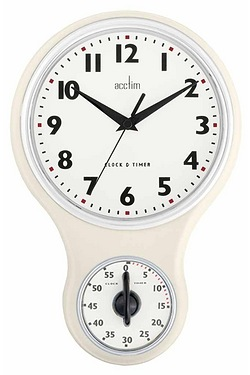 Kitchen Time Cream Clock and Timer