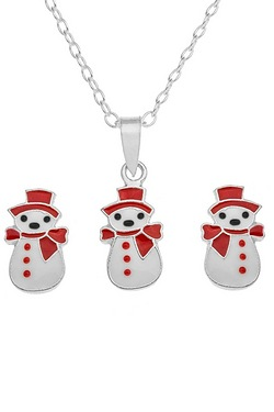 Sterling Silver and Enamel Snowman ...