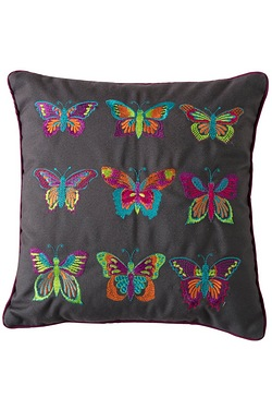 Embroidered Butterflies Pastel Cushion
