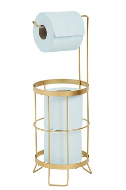 2-In-1 Gold Coloured Toilet Roll Holder