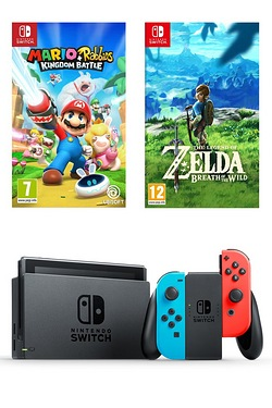 Nintendo Switch Neon + Legend of Zelda + Mario Vs Rabbids Kingdom Battle
