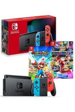 Nintendo Switch Neon + Mario Kart 8 + Mario Vs Rabbids Kingdom Battle