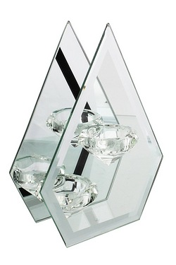 21cm Hestia Glass and Mirror Tealight Holder Diamond Shape