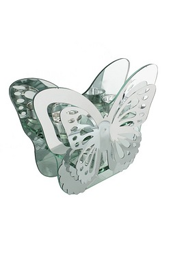 Hestia Glass and Mirror Tealight Holder Butterfly Shape