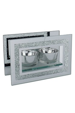 Hestia Mirror Glass and Glitter Double Tealight Holder