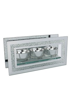 Hestia Mirror Glass and Glitter Triple Tealight Holder