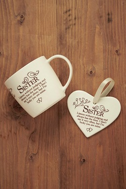 Mug and Heart Gift Set - Sister