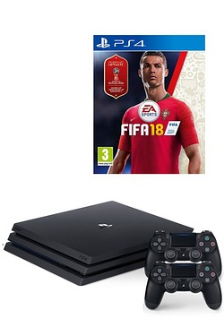 PS4 Pro 1TB Black Console + FIFA 18 + Extra DUALSHOCK 4 Controller