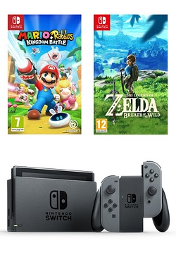 Nintendo Switch + The Legend Of Zelda: Breath Of The Wild + Mario + Rabbids Kingdom Battle - Grey