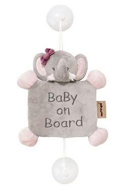 Nattou Adele and Valentine: Baby on Board Sign - Adele the Elephant