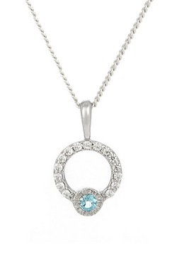 Sky Blue Topaz and CZ Circle Pendant