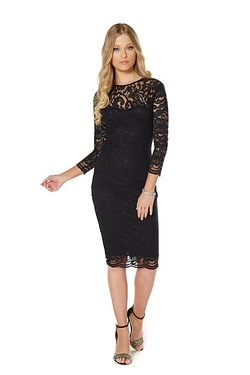 AX Paris Lace Long Sleeve Midi Dress