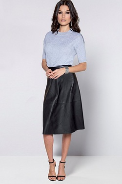 Be You PU A Line Skirt