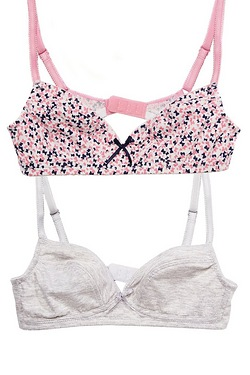 Girls' Pack Of 2 Soft Cup Bras