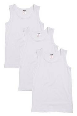 Boys Pack Of 3 Plain Vests