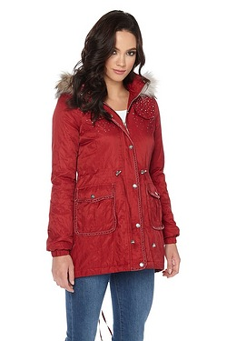 Lipsy Faux Fur Stone Encrusted Parka