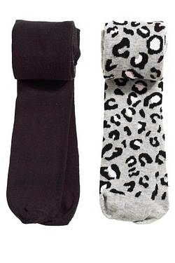 Girls Pack Of 2 Leopard Tights