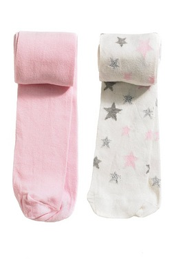 Girls' Pack Of 2 Star Tights
