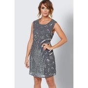 Frock And Frill Beaded Dress - Grey