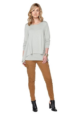 Be You Dip Hem Double Sweater