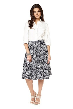 Be You A-Line Skirt - Navy Print
