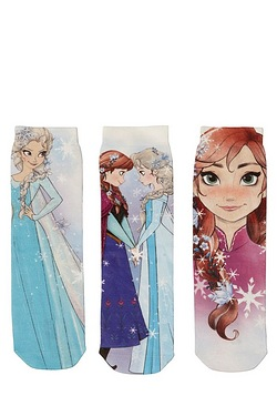Girls Frozen Pack Of 3 Socks