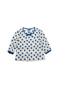Young Girls Woven Blouse With Hearts