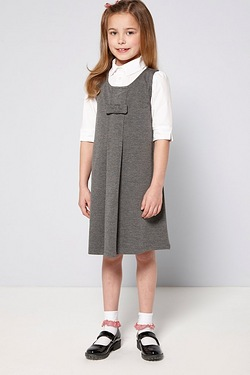 Girls Ponte Pinafore With Bow
