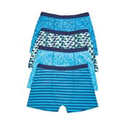 Boys Pack Of 4 Geometric Boxers Blu...